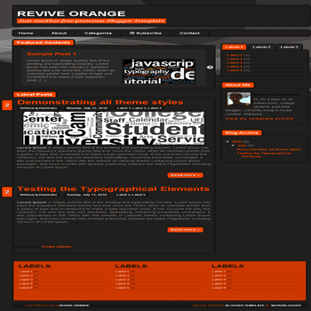 free blogger template Revive Orange Blogger Template