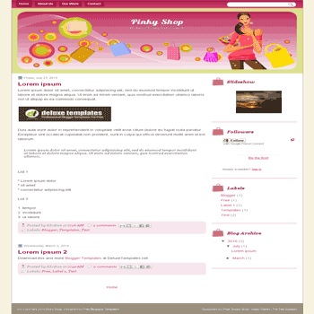 free blogger template Pinky Shop for blogspot template