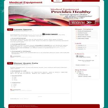 free blogger template Medical Equipment blogger template