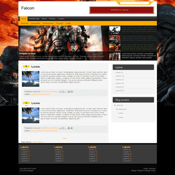 Falcon free blogger template convert wordpress theme to blogger template with feature content slideshow for games blogger template