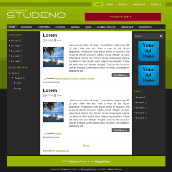 Studeno free blogger template convert wordpress theme to blogger template with ads ready template