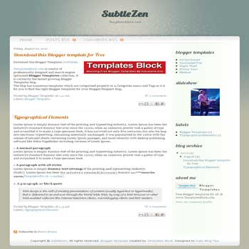 SubtleZen free blogger template converted from wordpress theme to blogger with 2 column blogger template
