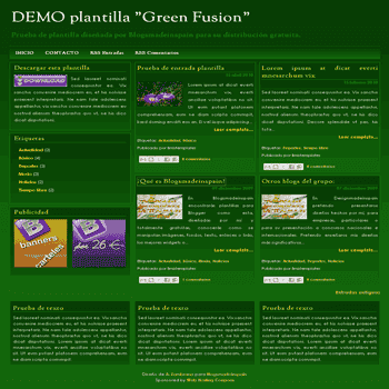 Green Fusion free blogger template with 3 column footer Blogger Template