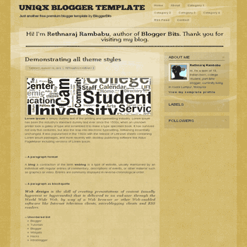 Uniqx free blogger template with 2 column and 3 column footer Blogger Template