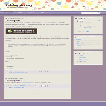 Falling Arrows free blogger template with 2 column blogger template
