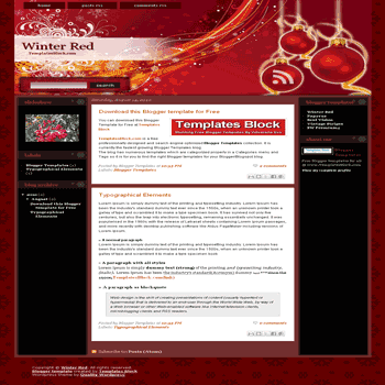 Winter Red free blogger template converted from wordpress theme to blogger with 3 column blogger template