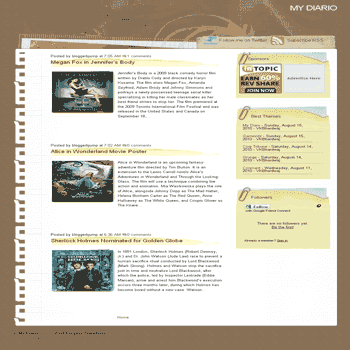 My Diario freeblogger template converted from wordpress theme to blogger template