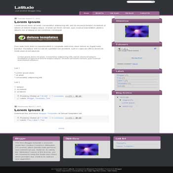free blogger template Latitude with 3 column footer blogger template