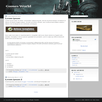 Games World free blogger template for games blogger template
