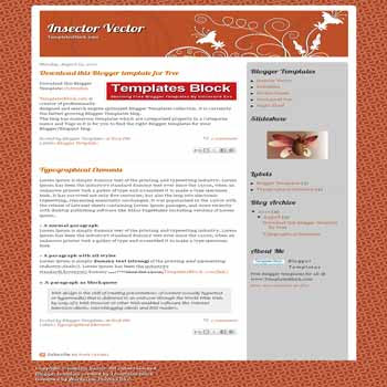 free blogger template Insector Vector converted from wordpress theme to blogger with 2 column blogger template