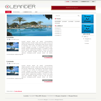 Leander blogger template convert wordpress theme to blogger template with image slideshow template
