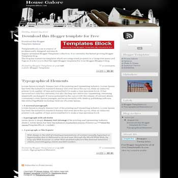 free House Galore blogger template converted from wordpress theme to blogger with 2 column blogger template