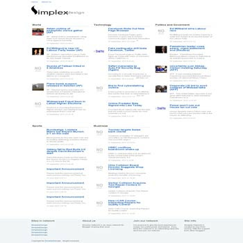 free Simplex News Aggregator blogger template for news blog template
