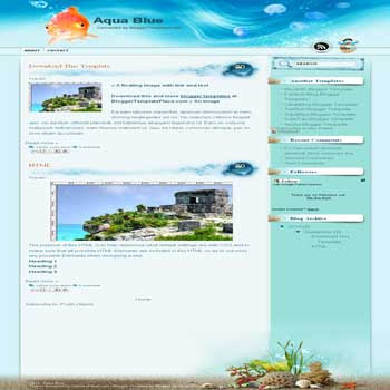 free Aqua Blue blogger template convert from wordpress theme to blogger template