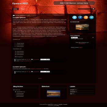 free opaque red blogger template
