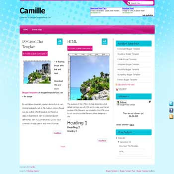 free Camille magazine style blogger template convert from wordpress theme to blogger template