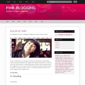 Pink Blogging (V2) blogger template with nice background template