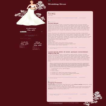 free wedding dress blogger template for personal wedding blog template