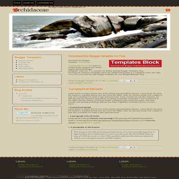 Orchidaceae blogger template converted from css template to blogger with 3 column footer blogger template