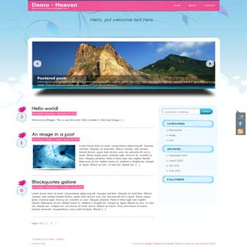 Heaven blogger template convert from wordpress theme to blogger with image slideshow template and pagination for blogger ready