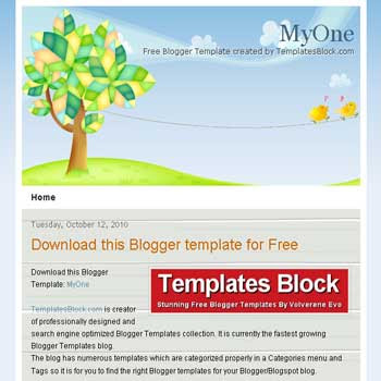 free MyOne blogger template converted from wordpress theme to blogger template with 1 column blogger template
