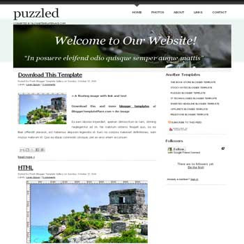 free Puzzled blogger template converted from css template to blogger template with 4 column footer template