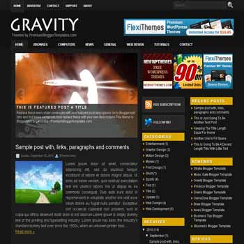 free Gravity blogger template magazine style adapted from wordpress theme to blogger template with image slide template and pagination for blogger ready
