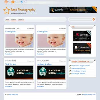 free best photography blogger template for photo and gallery blogs