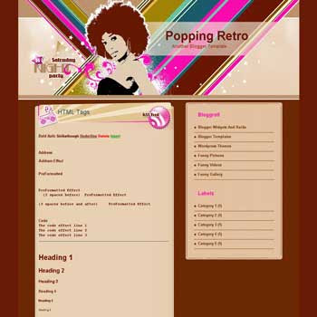 free Popping retro blogger template converted from wordpress theme to blogger with retro style template for music blog template