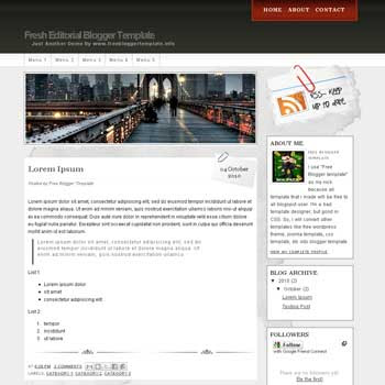 free Fresh Editorial  blogger template convert WordPress to Blogger template with 4 column footer template