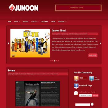Junoon blogger template convert wordpress theme to blogger template with automatic featured content template blog and 3 column footer template blog
