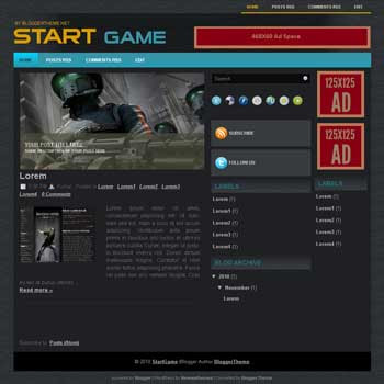 Start Game blogger template convert wordpress theme to blog template automatic slideshow template blog for game blog template blogspot with ads ready template blog and 3 column blogger template