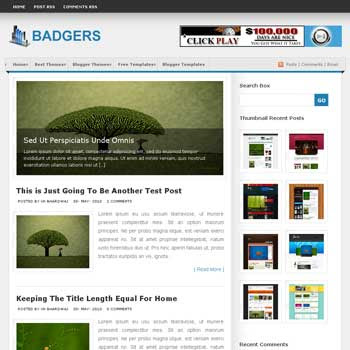 Badgers template blogger converted from wordpress theme to blogger template with image slideshow content magazine style template blogger template