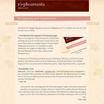 Ró-phearsanta blogger template with 1 column blogger template and 2 footer template blog for blogspot template