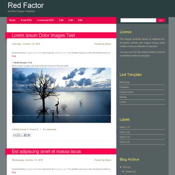 Red Factor blogger template with 2 column blogger template