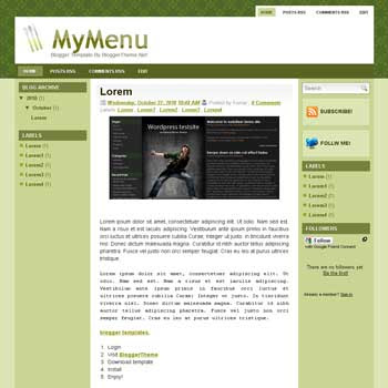 My Menu blogger template convert wordpress theme to blogger template with 3 column blogger template and clean template