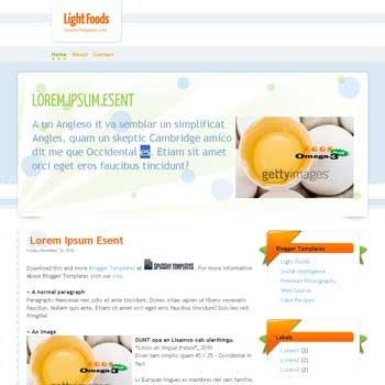 Light Foods blogger template. clean blogger template. clean blogspot template. psd template to blogger template