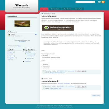 Visconte blogger template with 3 column blogger template. 3 column blogspot template
