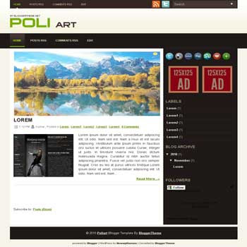Poliart blogger template convert wordpress theme to blogger template with image slideshow blog templates for blogspot template