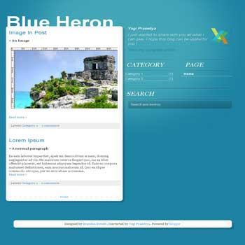 Blue Heron blogger template adapted from tumblr template with 3 column template blog