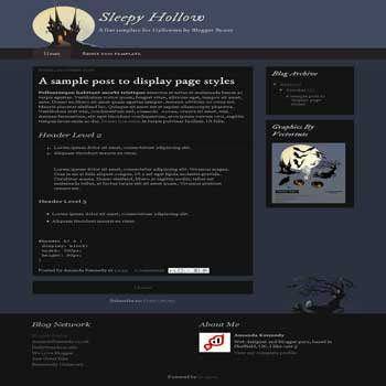 Sleepy Hollow blogger template with 2 column blogger template, clean blogger template and 2 column blogger template. 2 column footer template blogspot