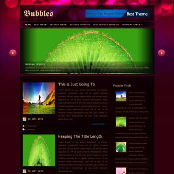 Bubbles template blogger converted from wordpress theme to blogger template with image slider template blog magazine style template blogger template. image slider template blogspot