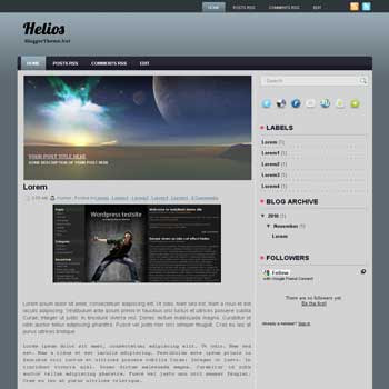 Helios blogger template. image slideshow template blog. blogger template from wordpress theme. image slideshow template blog