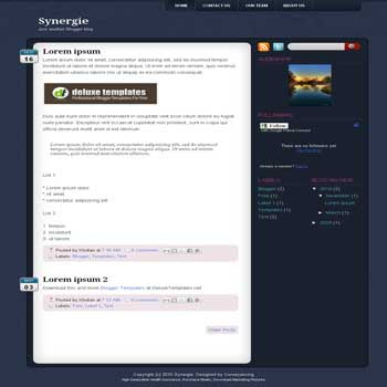 Synergie blogger template. 3 column blogger template. 3 column blogspot template