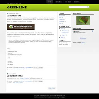 Greenline blogger template. 3 column blogger template. 3 column blogspot template