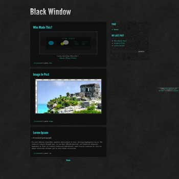 Black Window blogger template with 2 column blogger template. minimalist black blogger template