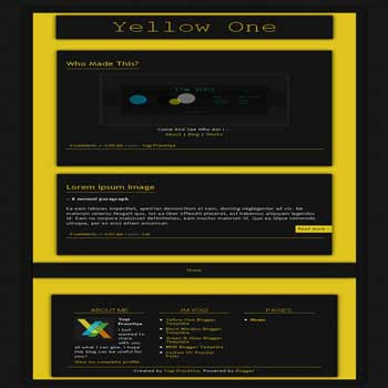 Yellow One blogger template with 1 column template blog and clean template blog