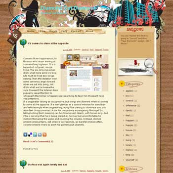 Diamond Cut Diamond blogger template. template blog from wordpress. template girly blog