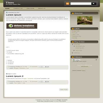 Tinos blogger template. elegant brown template blog