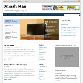 Smash Magazine blogger template. content slider template blog. magazine style template blog. 3 column footer template blog
